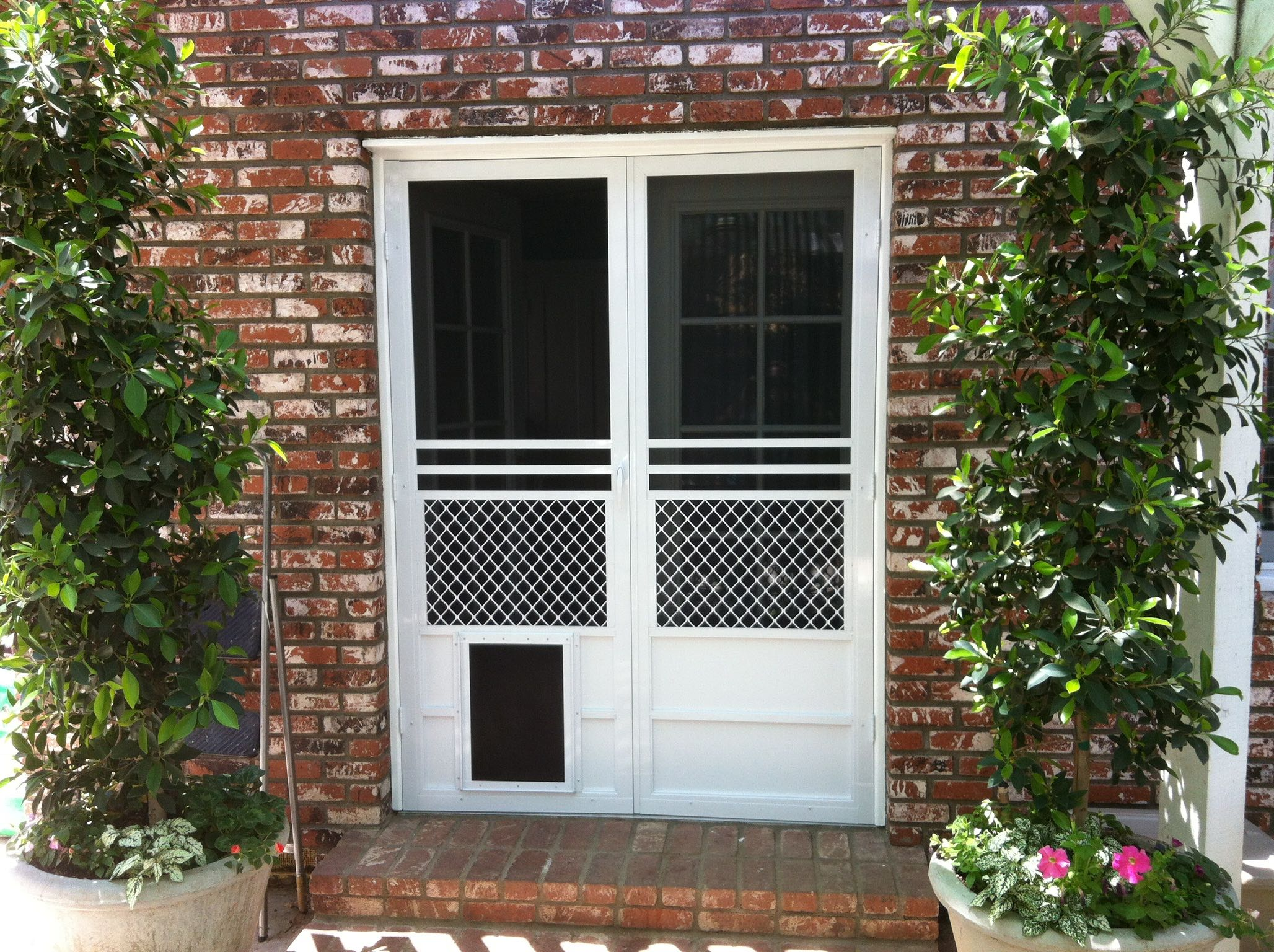 Safeguard French Screen Door with Pet Door — Riverside, CA