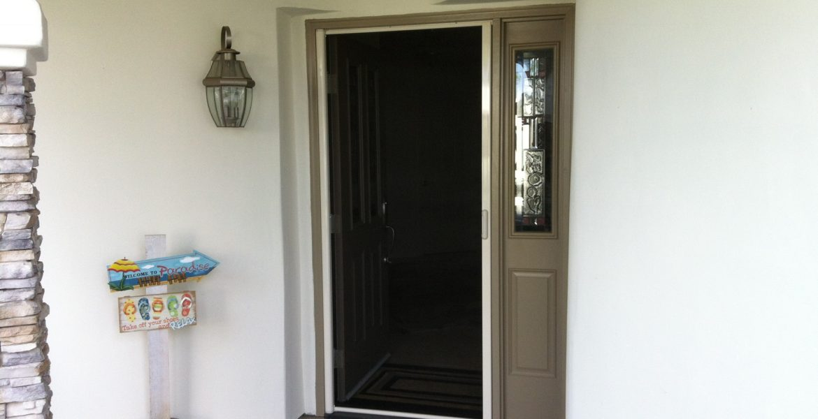 Linen cream Mirage retractable screen door installed in Canyon lake