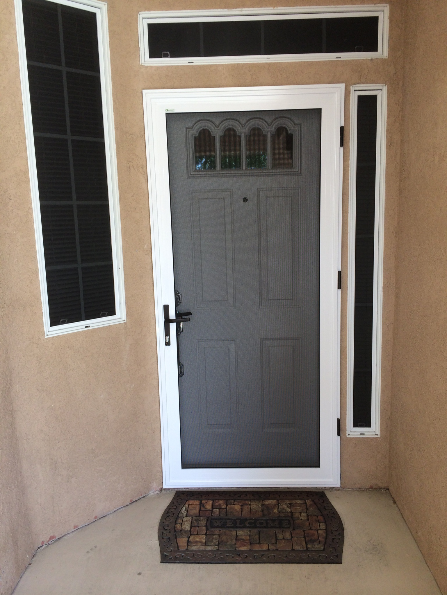 White guarda premium security door installed in the club menifee mobile screen shop - White security screen door ...