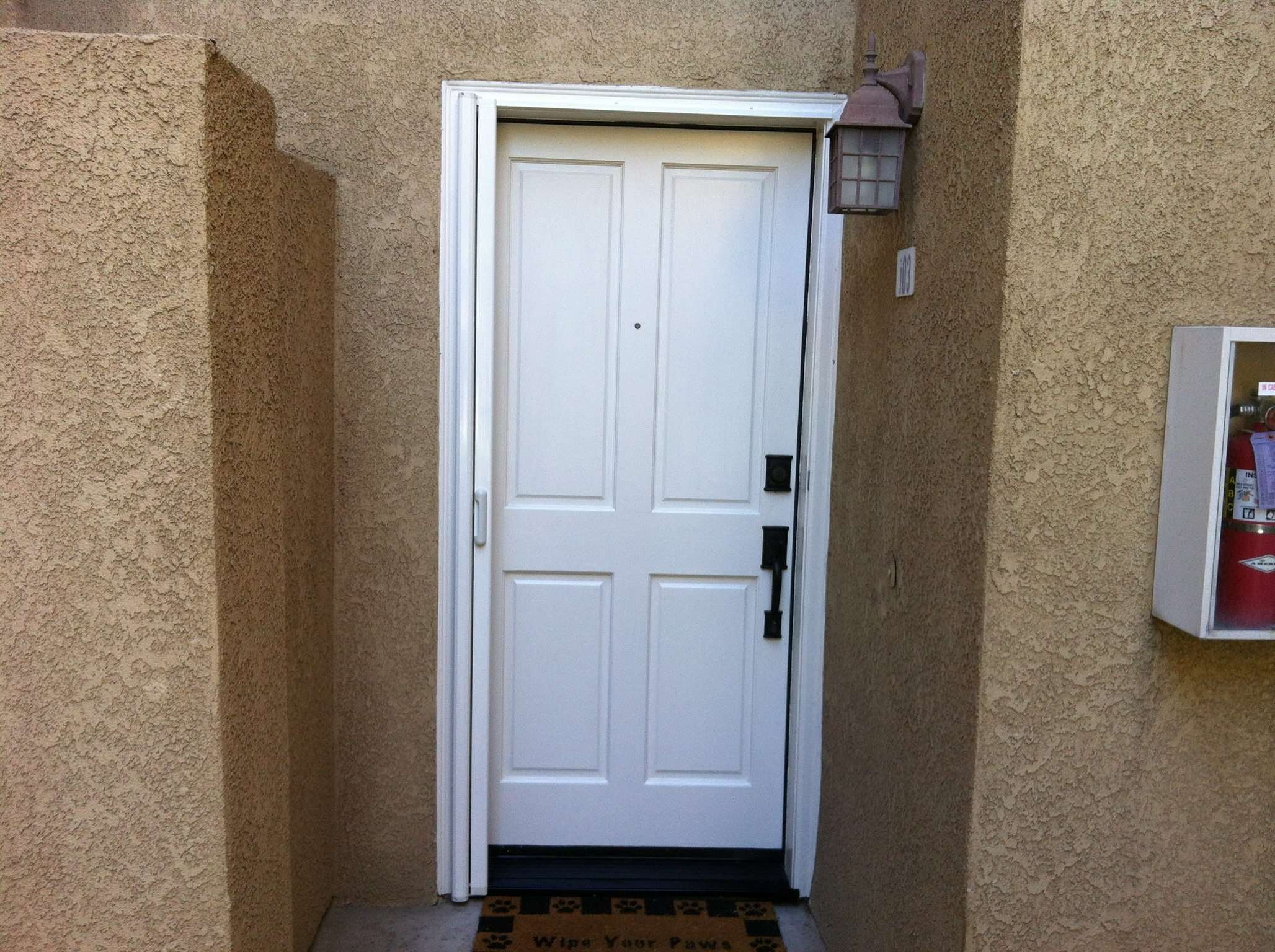 Off white Mirage retractable screen door installed in Corona 9/12/13