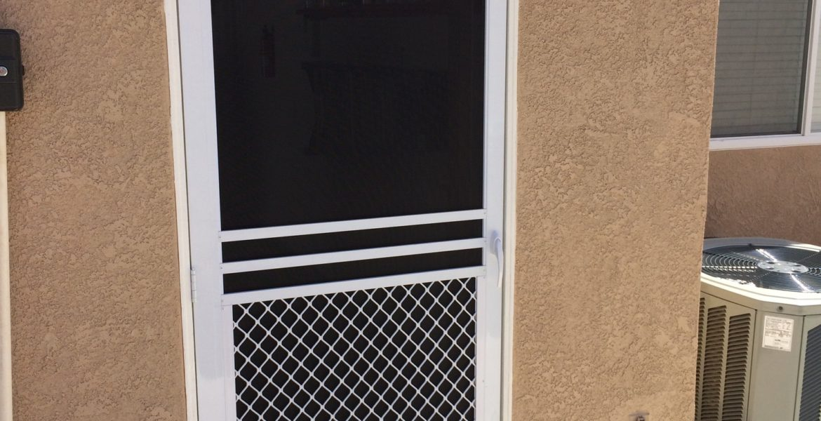 "White ""safeguard "" swinging screen door installed in Menifee 4/2/15"