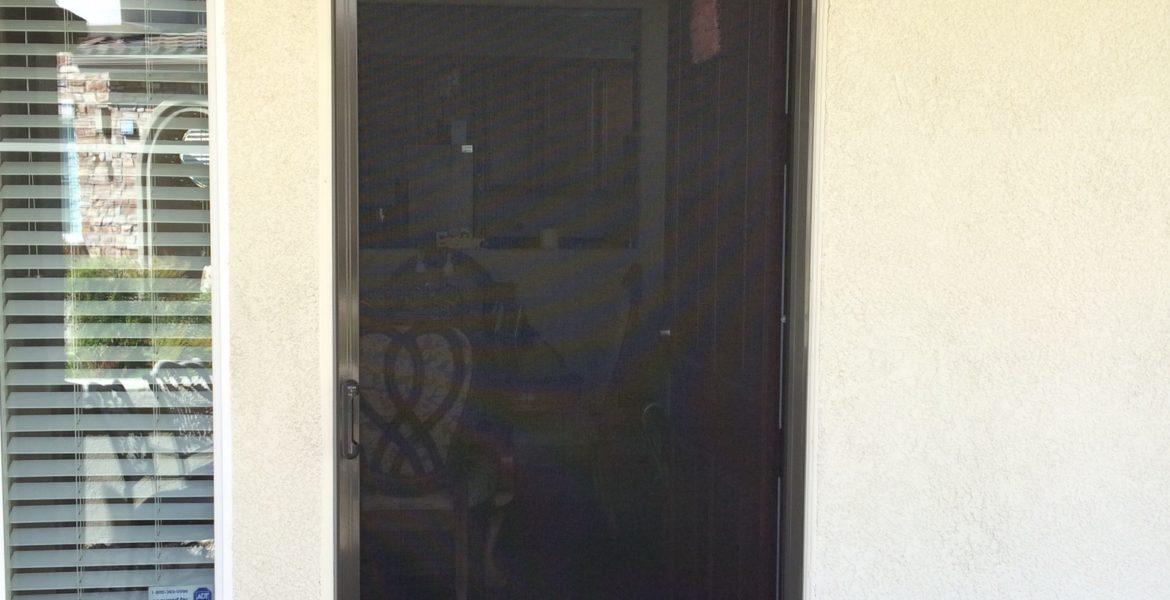 Rideau brown Mirage retractable screen door installed in Murrieta 4/2/15 - 2
