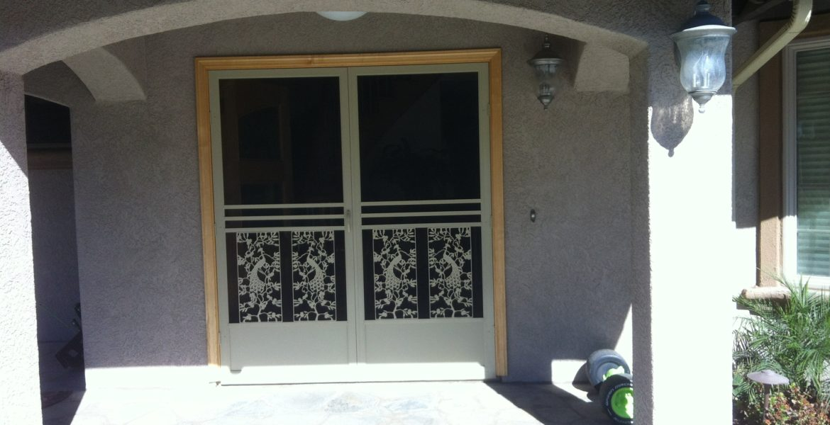 "Tan ""el dorado"" French swinging screen doors installed in Corona 11/6/13"