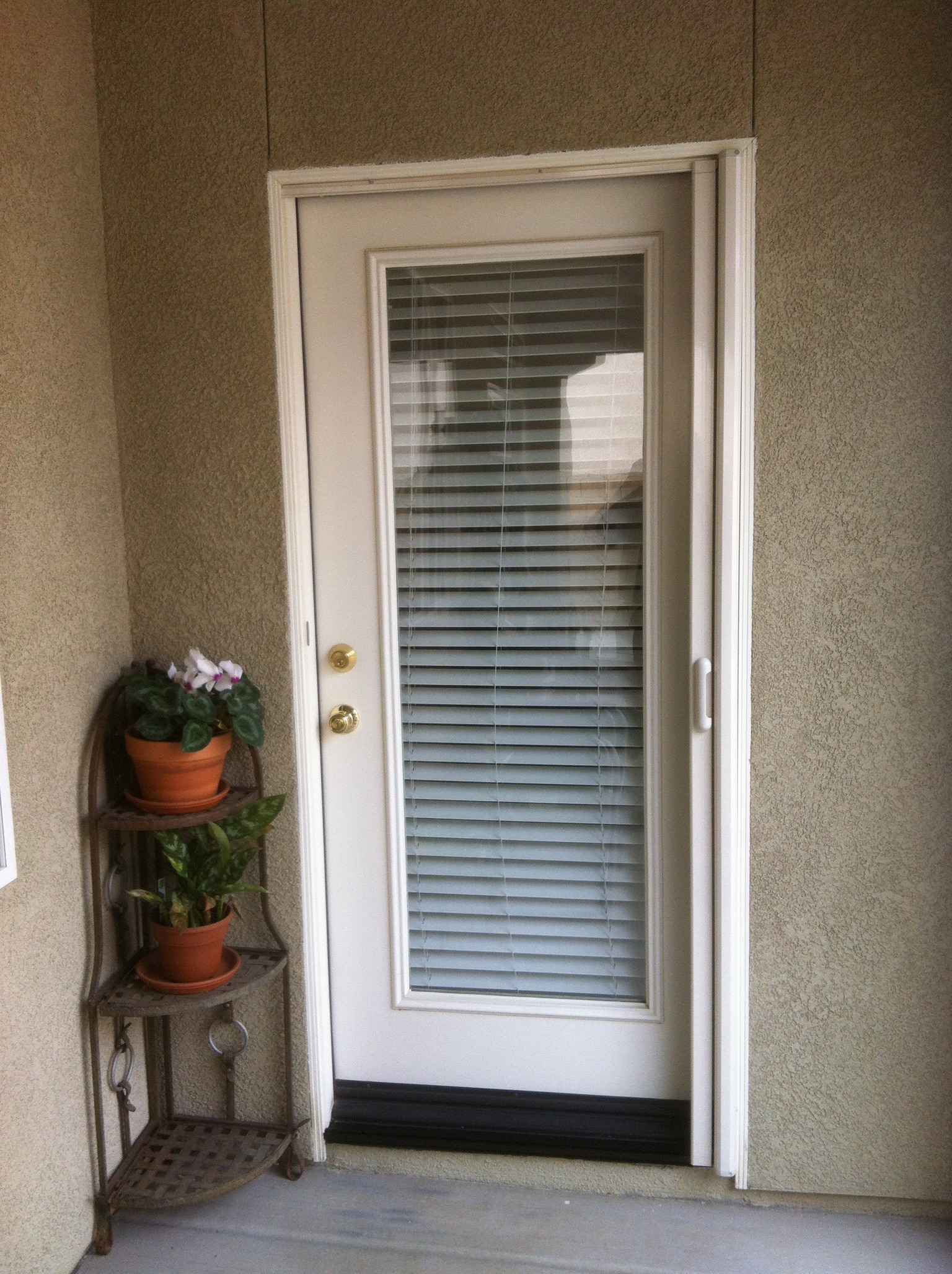 Linen cream Mirage retractable screen door installed in Menifee 1/31/14 - 1