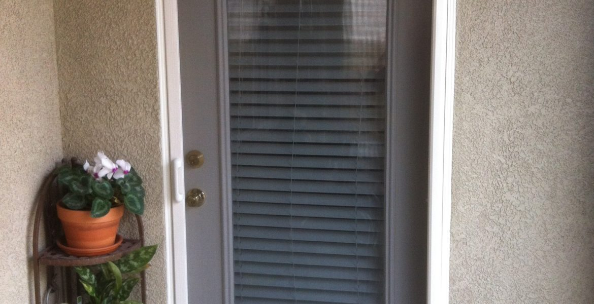 Linen cream Mirage retractable screen door installed in Menifee 1/31/14 - 2