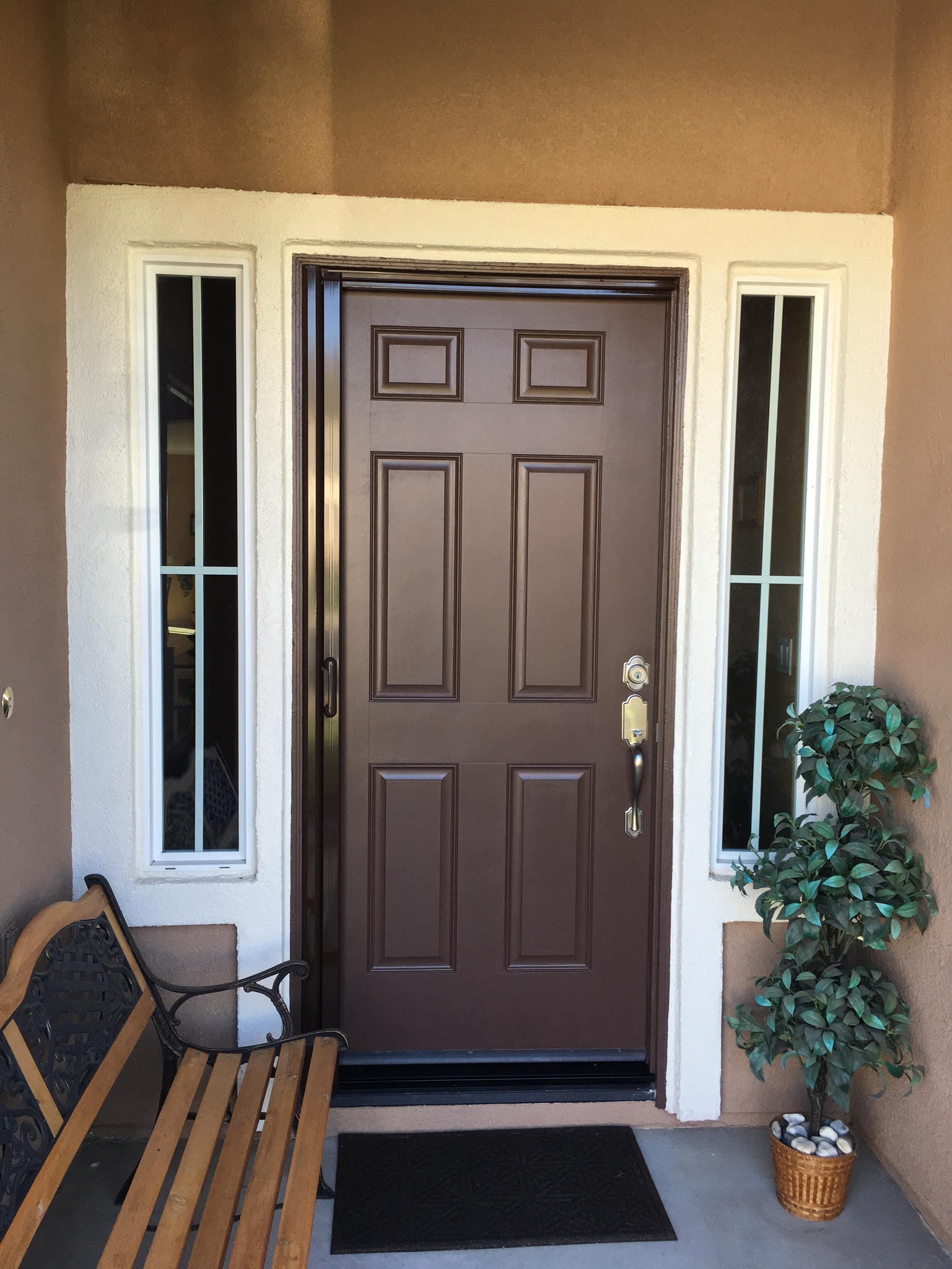 Single Tudor brown Mirage retractable screen door installed in Ryland Oasis, Menifee 11/8/16