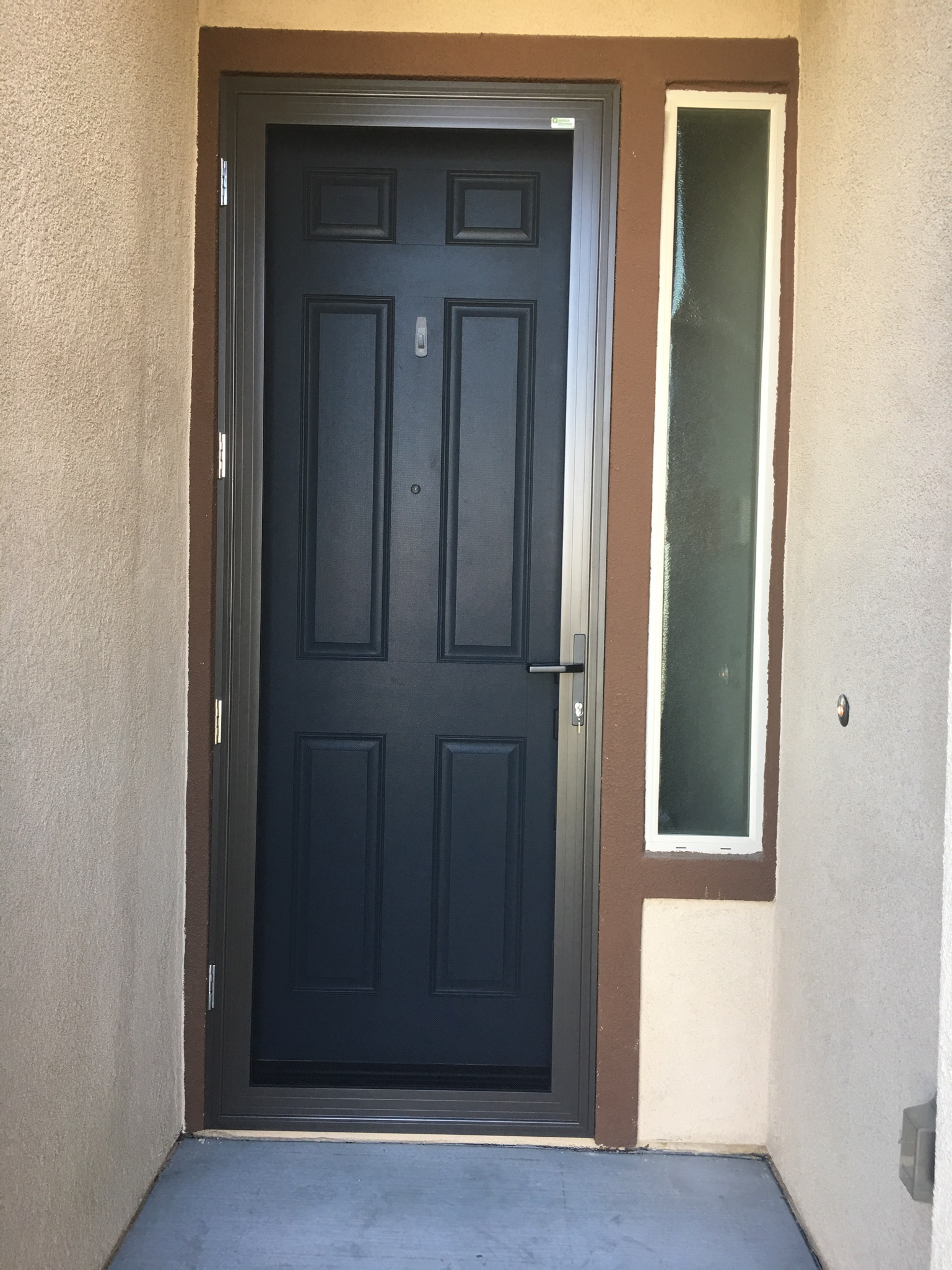 3'x8' bronze Guarda premium security screen door installed 1/6 in Summerly Homes in Lake Elsinore - 1
