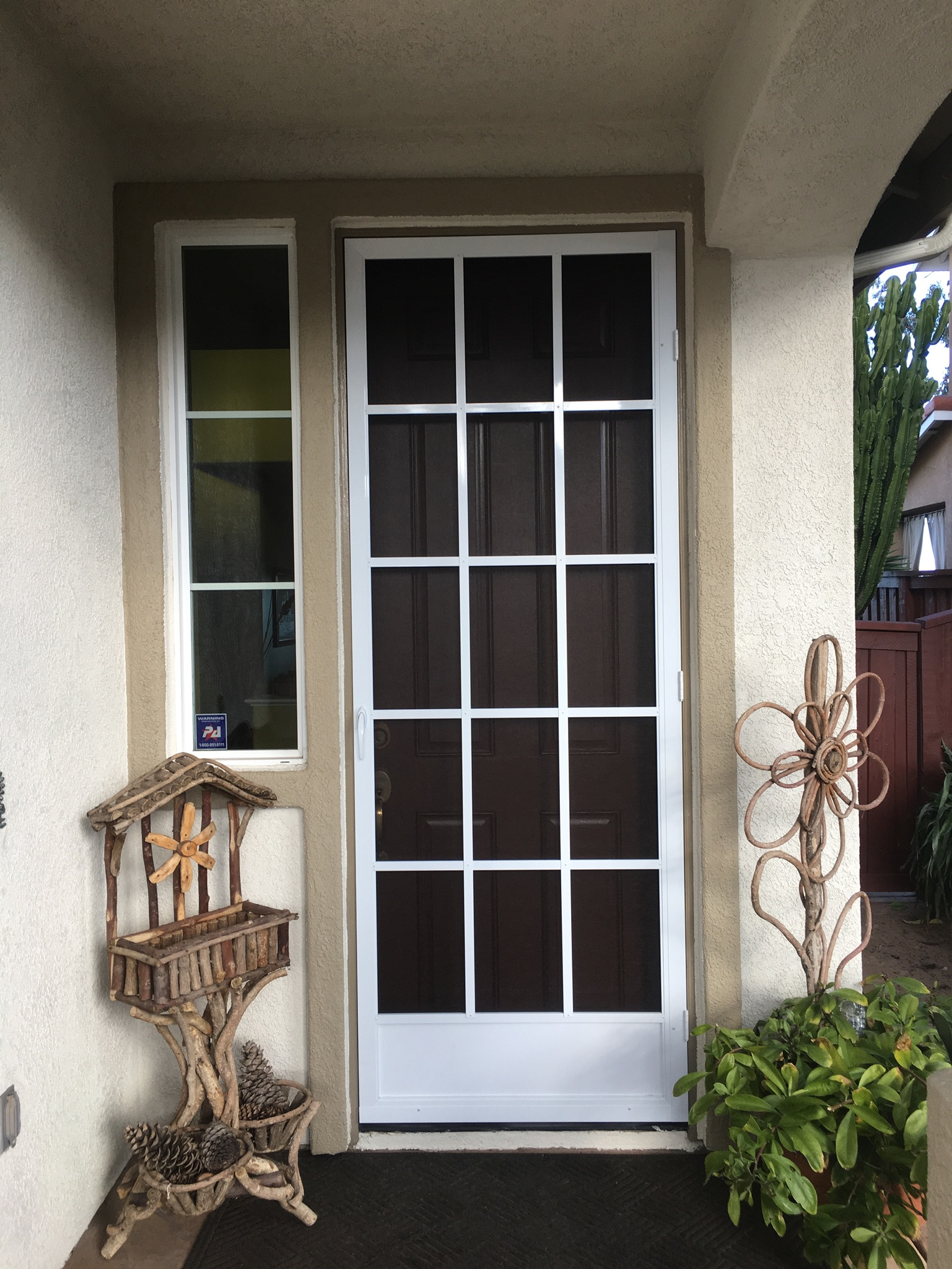 "3'x8' white ""cape cod"" swinging screen door — Murrieta, CA"