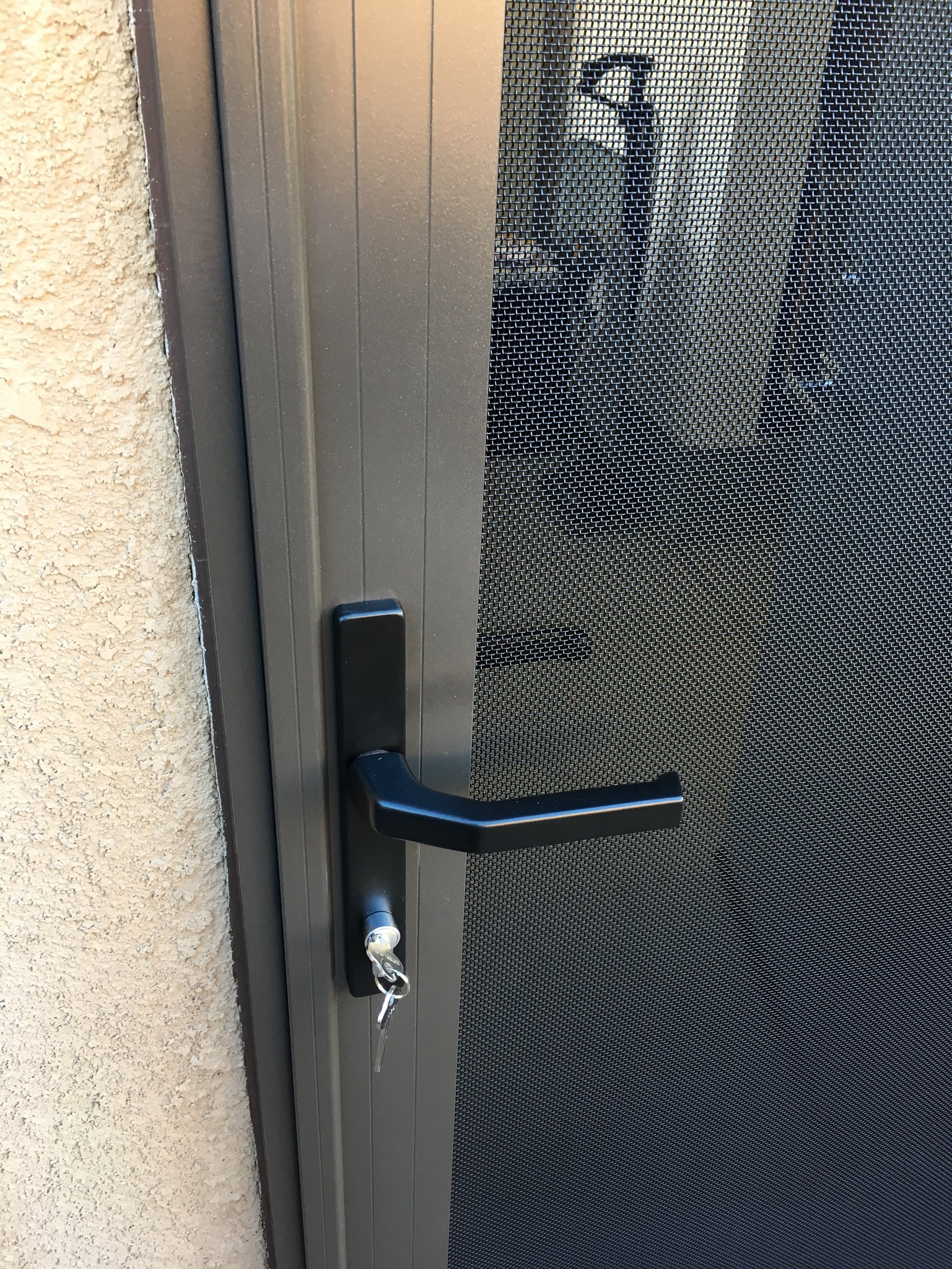 "32""x6'8"" bronze Guarda security screen door installed on side garage door in Summerly tract, Lake Elsinore - 3"