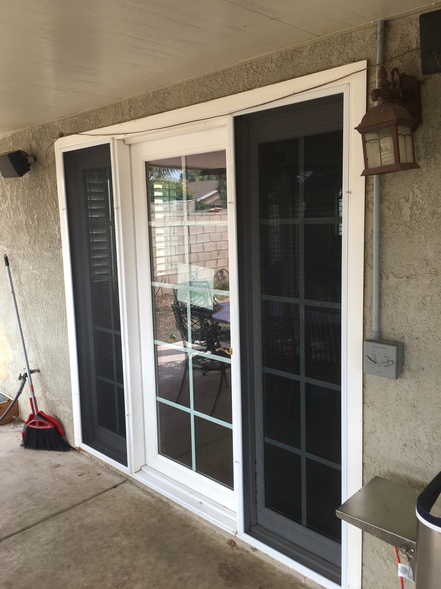 "Sidelite screens with 1"" white frame and pet screen — Moreno Valley, CA - 1"