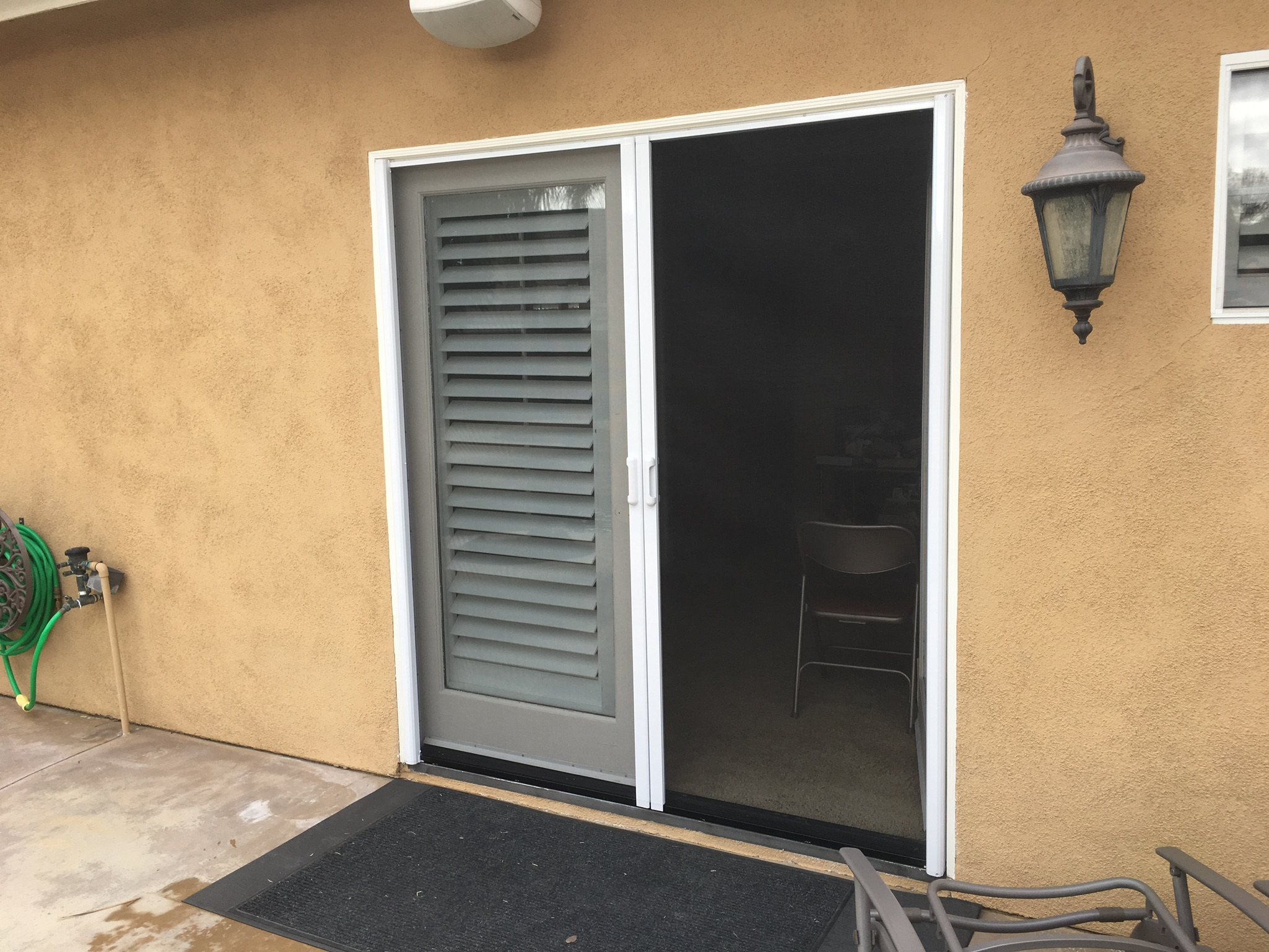 2 white French door Mirage retractable screen doors — Canyon Lake, CA - 1