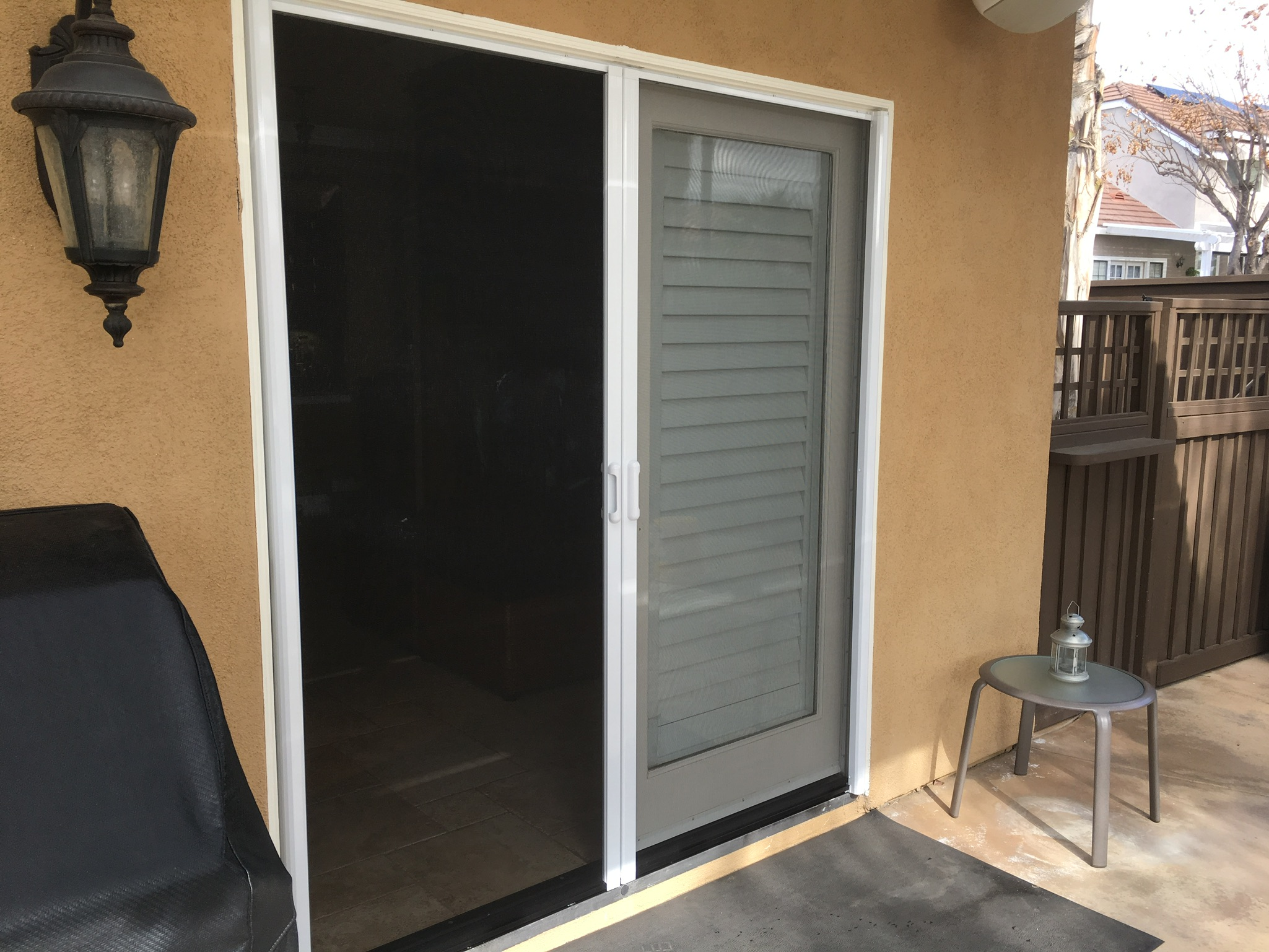 2 white French door Mirage retractable screen doors — Canyon Lake, CA - 3